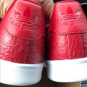 Adidas Stan Smith Red Leather Croc skin sz 10 NWT